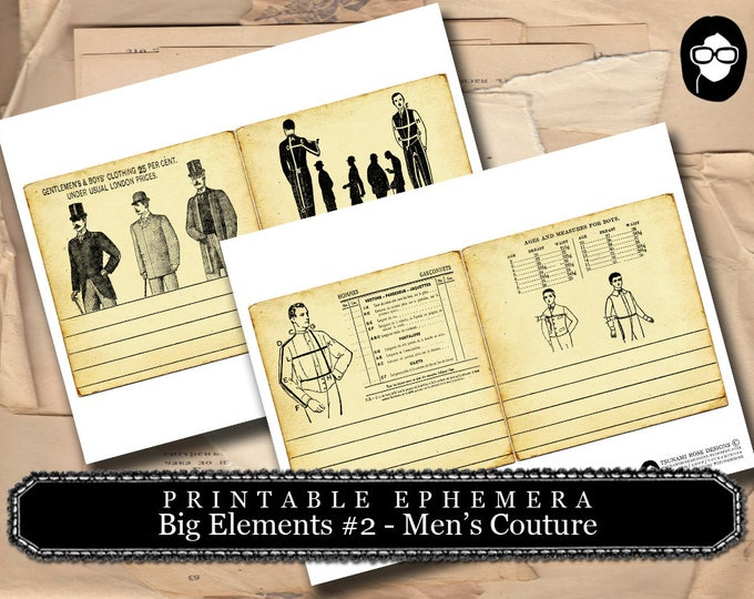 Masculine Art Prints - Big Elements #2 Mens Couture - 2 Page Instant Download- digital collage, blank journal cards, digital journal kits