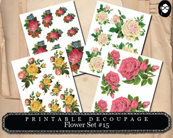 Bouquet Clipart - Decoupage Flowers Set #15 - 4 Page Instant Download, floral png clipart, instant download, png floral clipart