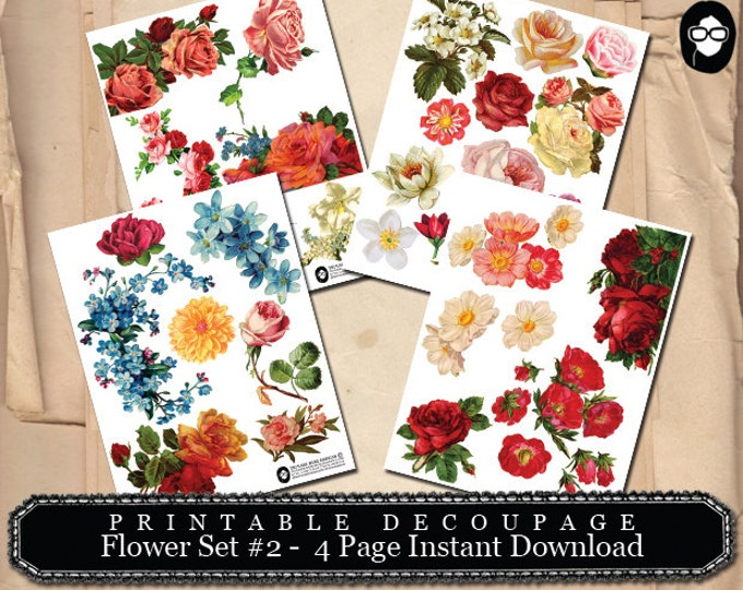 Clipart Floral - Decoupage Flowers Set # 2 - 4 Page Instant Download -  roses clipart, digital roses floral, roses clipart floral