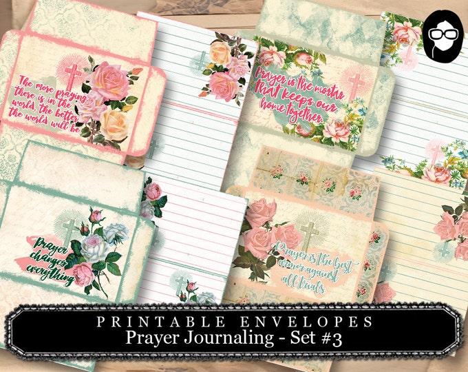Printable Envelopes - Prayer Journaling Set #3 - 8 Page Instant download - envelope templates, digital roses floral, faith, mini envelopes