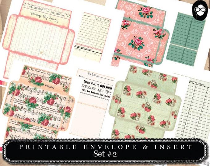 Printable Envelope & Insert Set #2 - 8 Page Instant download - envelope templates, envelope template, digital roses floral, mini envelopes