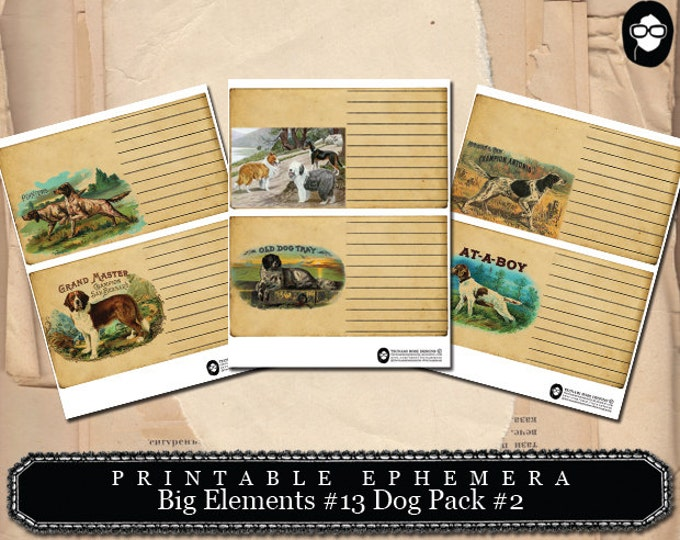 Printable Dog cards - Big Elements #13 Dogs #2 - 3 Page Instant Download - blank journal cards, altered art kit, ephemera kit, journal cards