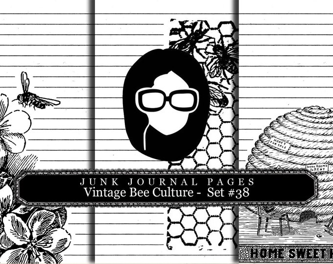 Lined Paper Pack - Vintage Bee Culture Set # 38 - 3 Pg Instant Download, lined diary paper, lined journal paper, vintage distressed Paper