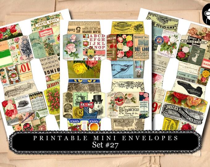 Printable Mini Envelopes #27 - 3 Page Instant download - envelope templates, envelope template, digital roses floral, mini envelopes