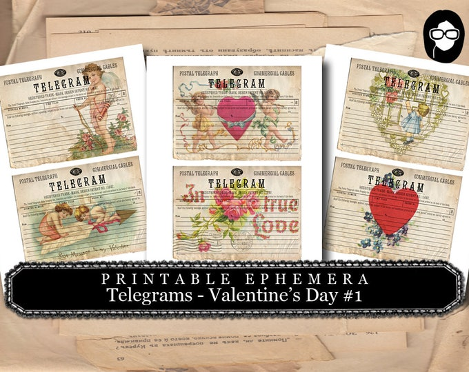 Blank Journal Cards - Telegram Valentine's Day Set #1 - 3 Page Instant Download - ephemera pack, altered art kit, junk journal kit,
