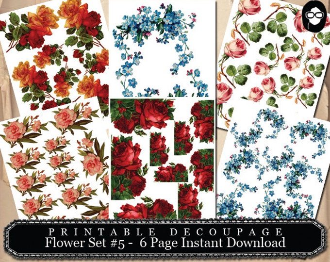 Bouquet Clipart - Decoupage Flowers Set #5- 6 Page Instant Download -  roses clipart floral, pink rose clipart, roses flower clipart