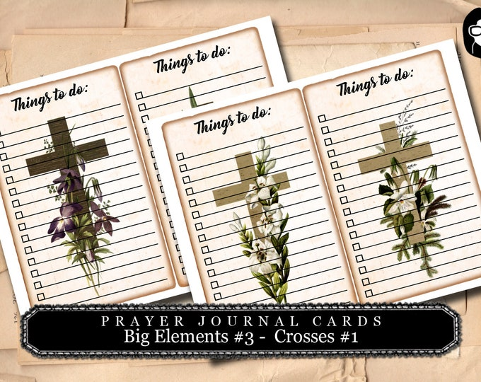 Altered Art Kit - Big Elements #3 Crosses #1 - 2 Page Download -  to do list, digital collage, blank journal cards, vintage floral crosses