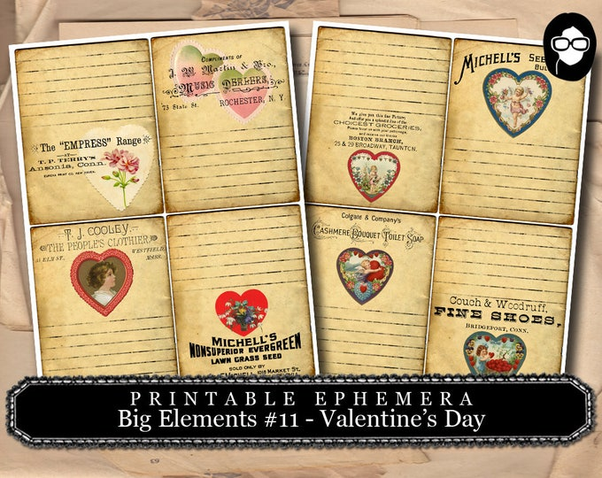Ephemera Kit - Big Elements # 11 Valentine's Day - 2 Page Instant Download -  journaling kit, art journal card, digital journal card