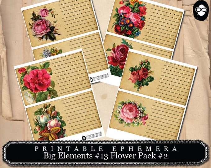 Junk Journal Supply - Big Elements #13 Flowers #2 - 4 Page Instant Download - project life kit, mixed media art kit, clipart floral