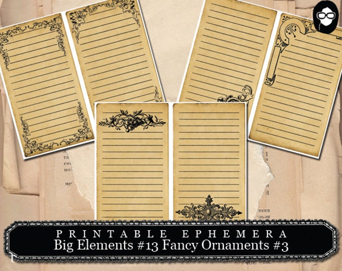 Flourish Clipart - Big Elements #13 Fancy Ornaments #3 - 3 Page Instant Download - flourish print, digital flourish,  digital journal card