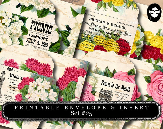 Envelope Templates & Insert - Set #25 - 8 Pg Instant download - envelope template, printable envelope, clipart floral, digital roses floral