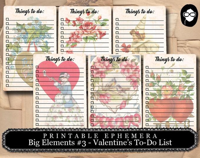 To Do List - Big Elements #3 Valentine's Day  - 3 Page Download - digital collage, blank journal cards, digital journal kits, valentine