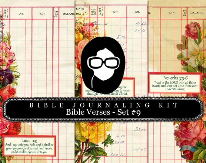 Bible Verses DIY - Bible Verse Set #9 - 3 Pg Instant Downloads - digital rose paper, lined journal pages, prayer journaling, scripture art