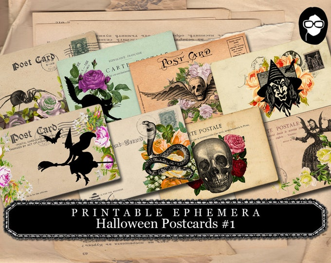 Halloween Cliparts -  Halloween Postcards #1 - 2 Page Instant Download -  spooky digital paper, journaling cards, clip art halloween