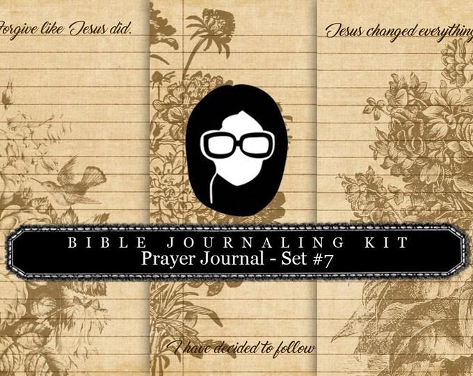 Bible Journaling Kit - Bible Verse Set #7 - 3 Pg Instant Downloads - lined journal pages, bible verses diy, prayer journaling, scripture art