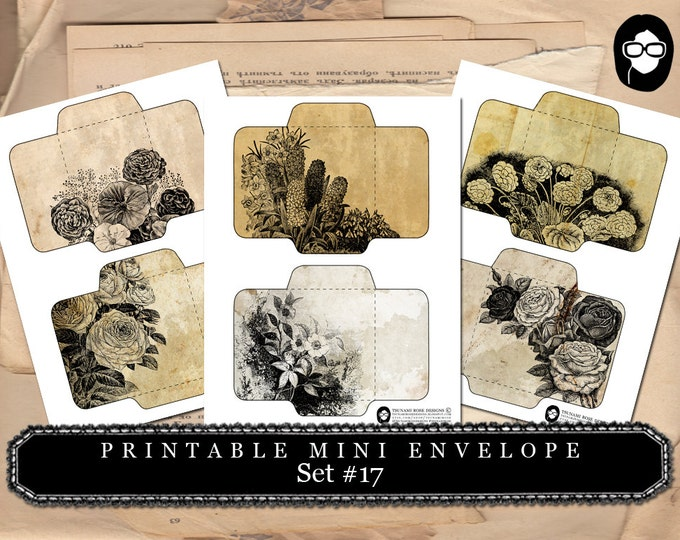 Mini Envelope Templates -  Set # 17 - 3 Page Instant download, printable envelope, mixed media art kit, clipart floral, roses clipart