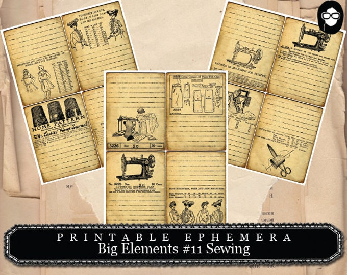 Sewing Art Print, Big Elements #11 Sewing Printable - 3 Page Instant Download - sewing room print, note cards, ephemera pack, journal card
