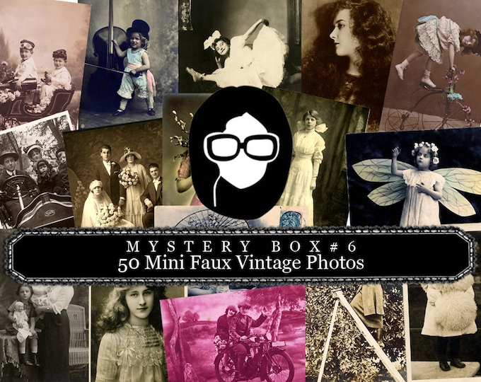 Mystery Box #6 -  50 Mini Faux Vintage Photos - LIMITED QUANTITIES