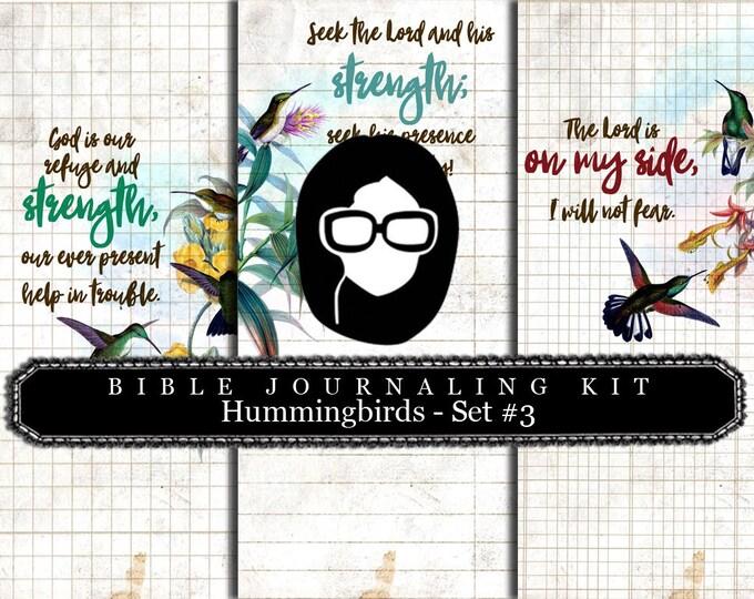 Bible Verses DIY - Hummingbirds Set # 3 - 3 Pg Instant Downloads - digital rose paper, lined journal pages, prayer journaling, scripture art
