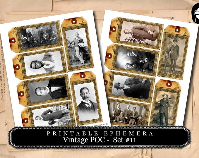 Vintage Shipping Tag - Vintage Men of Color - Set # 11 - 2 Page Instant Download, digital journal card, poc, gift tags, african american