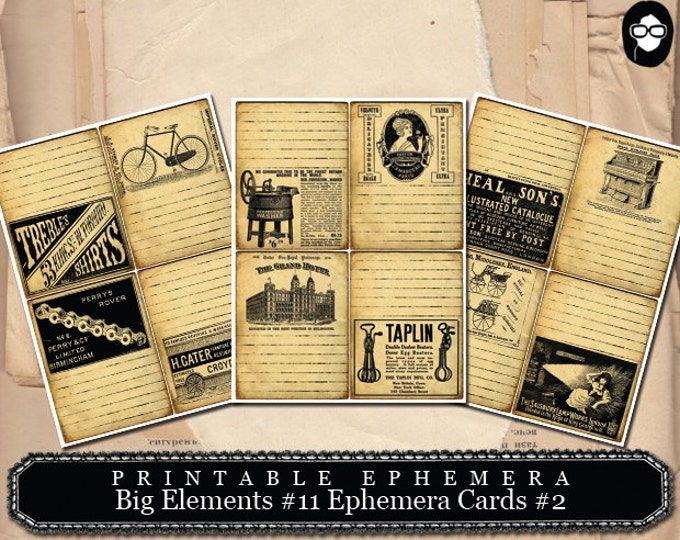 Art Journal Card - Big Elements #11 Ephemera Cards #2 - 3 Page Instant Download - pink rose clipart, printable, ephemera kit, ephemera pack