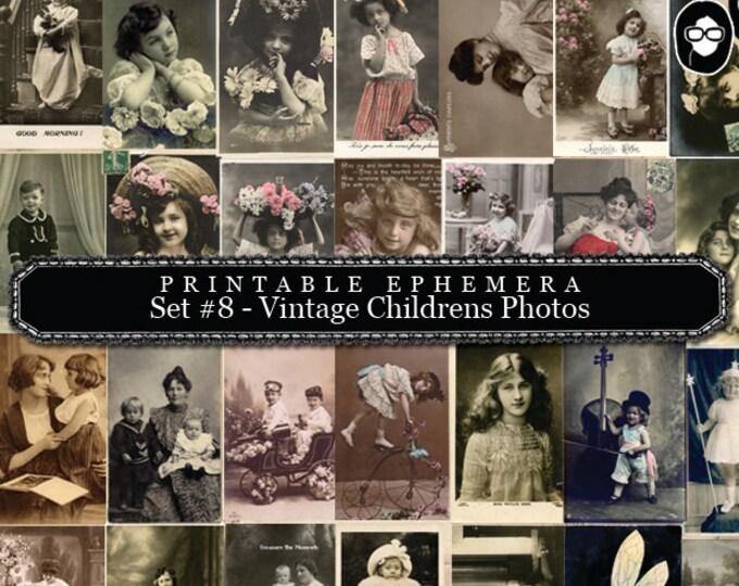 Digital Journal Kits - Printable Ephemera Set # 8 Vintage Childrens Photos - 30 Page Instant Download, ephemera kit, blank journal cards