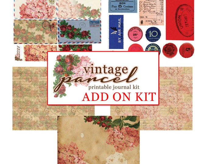 Journaling Kit - AddOn Vintage Parcel - 5 journaling pages - art journal kit, junk journal cover, junk paper pack, digital paper pack