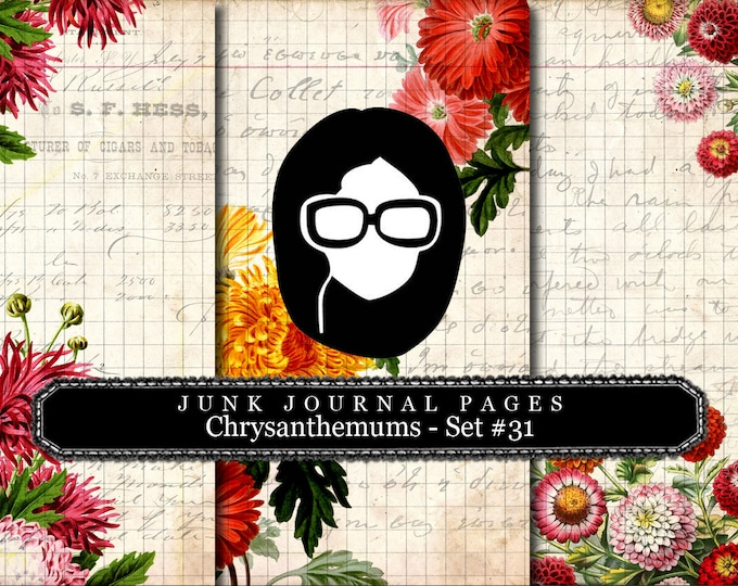Lined Paper Pack - Chrysanthemum  Set # 31 - 3 Pg Instant Download, lined diary paper, lined journal paper, vintage distressed Paper