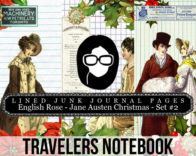 Jane Austen Christmas Travellers Notebook Set #2 LINED - Journal Pages - 3 Printable Pages- travelers notebook, fauxdori insert, midori