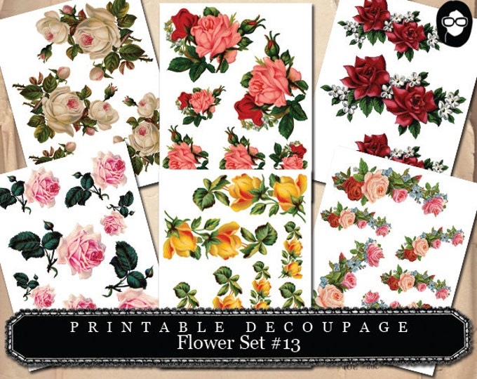 Floral Clipart - Decoupage Flowers Set #13 - 6 Page Instant Download, roses clipart floral, pink rose clipart, bouquet clipart, roses flower