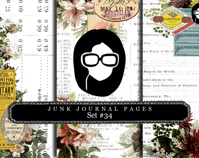 Junk Journal Pages - Set #34 - 3 Pg Instant Downloads - rose digital paper, floral digital paper, digital paper pack, best digital paper