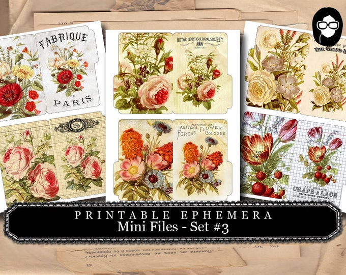 Altered Art Kit - Mini Files Set #3 - 3 Page Instant Download - floral clipart, smash journal kit, journaling cards, journal cards
