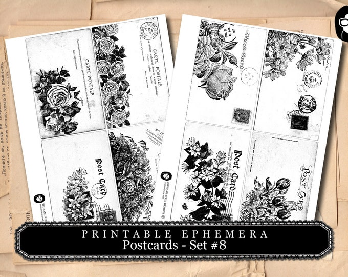 Bouquet Clipart - PostCards Collection # 8 - 2 Page Instant Download - blank journal cards, postcarte, digital journal kits, black and white