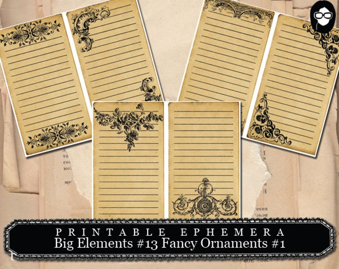 Digital Flourish - Big Elements # 13 Fancy Ornaments # 1 - 3 Page Instant Download - flourish print, flourish clipart, ephemera pack