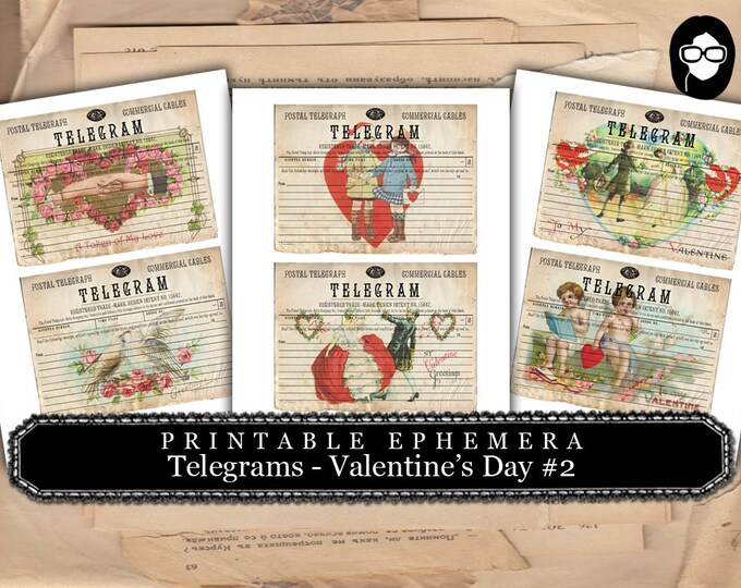 Junk Journal Supply - Telegram - Valentine's Day - 3 Pg Instant Download -  project life kit, mixed media art kit, ephemera pack, telegraph