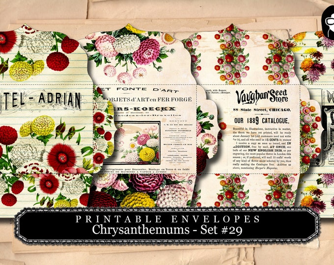 Printable Envelopes - Chrysanthemum Set #29 - 4 Page Instant download - envelope templates, envelope template, digital roses floral