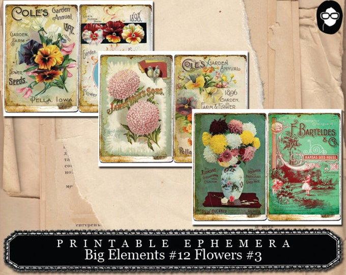 Altered Art Kit - Big Elements #12 Flowers #3 - 3 Pg Instant Download - journal cards, digital journal card, smash book kit, floral clipart