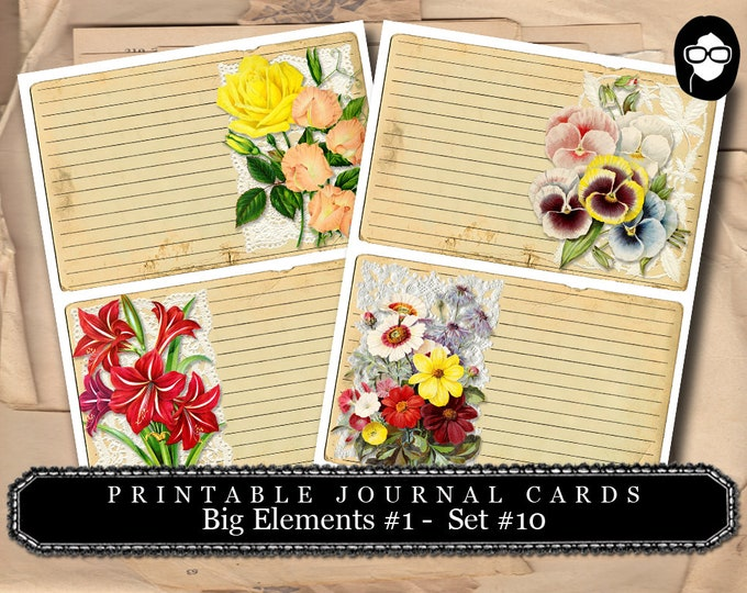 Roses Clipart - Big Elements #1  Set #10 - 2 Page Instant Download - junk journal supply, project life kit, mixed media art kit