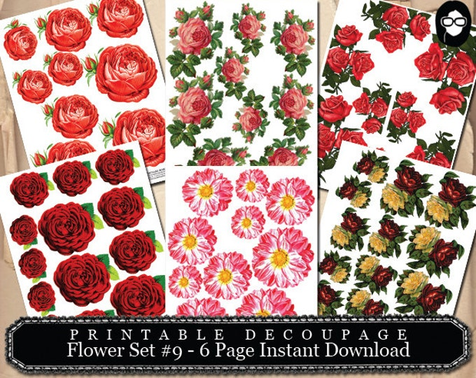 Pink Rose Clipart - Decoupage Flowers Set #9 - 6 Page Instant Download, floral png clipart, floral clipart png, png floral clipart