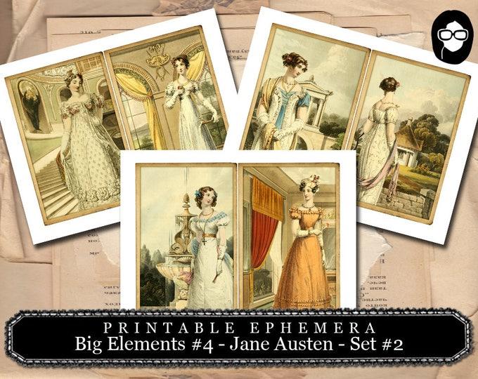 Pride And Prejudice - Big Elements #4 - Jane Austen Set #2 - 3 Page Instant Download - jane austen quote, journal cards, jane austen print
