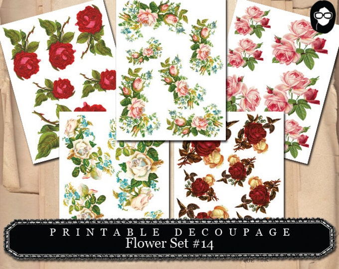 Roses Flower Clipart - Decoupage Flowers Set #14 - 5 Page Instant Download, roses clipart floral, pink rose clipart, bouquet clipart