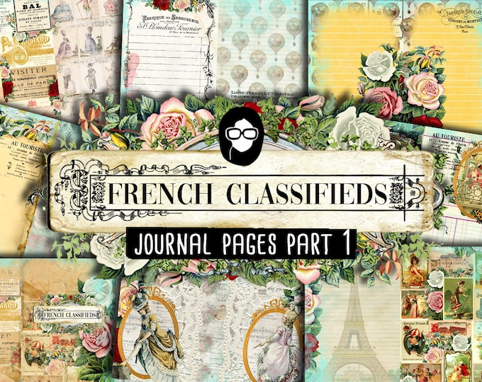 French Journal Pages - French Classifieds - Journal Pages Part 1 - 11 Instant Download Pages - paris printable, junk journal kit, parisian