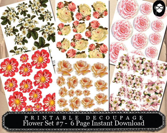 Pink Rose Clipart - Decoupage Flowers Set #7- 6 Page Instant Download - png floral clipart, clipart floral, roses clipart, digital floral