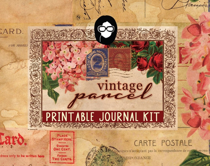 Writing Journals - Vintage Parcel - 26 Journal Pages, digital paper packs, grungy pages digital, lined notebook, digital journal kit