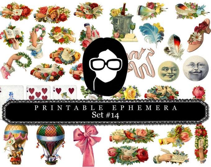 Roses Clipart Floral - Printable Ephemera - Set #14 -15 Page Instant Download - ephemera pack, ephemera kit, junk journal kit, journal cards