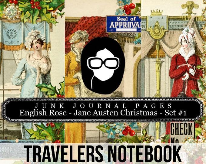 Jane Austen Christmas Travellers Notebook Set #1 - Journal Pages - 3 Printable Pages- travelers notebook, fauxdori insert, midori