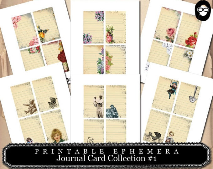 Project Life Kit - Journal Cards Collection #1 - 6 Page Instant Download - mixed media art kit, clipart floral, roses clipart, note cards