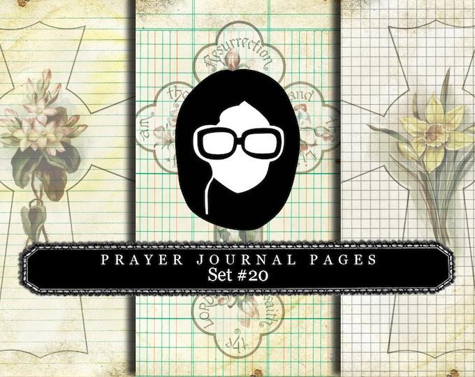Bible Journaling Kit - Bible Verse Set #20 - 3 Pg Instant Downloads - vintage crosses, bible verses diy, prayer journaling, scripture art