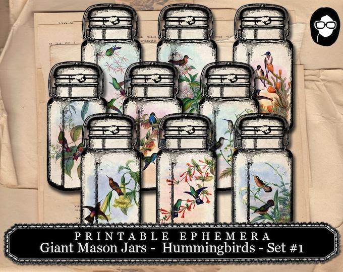 Vintage Mason Jar - Giant Mason Jars - Hummingbirds -  2 Page Instant Download - mason jar printable, roses clipart floral digital collage,