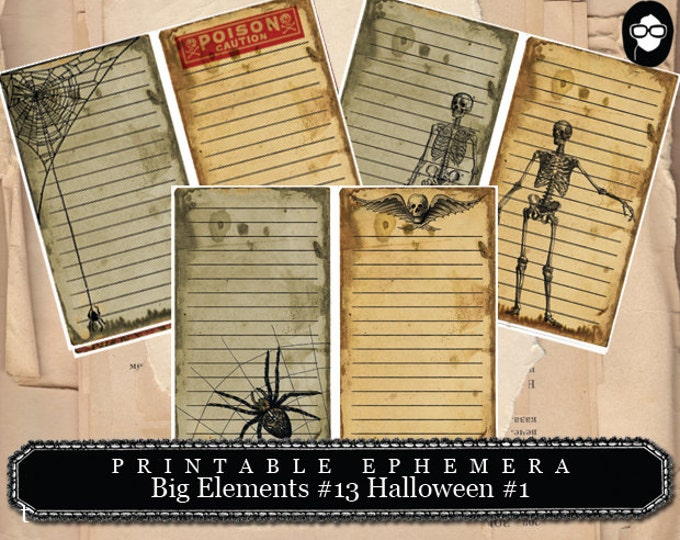 Clip Art Halloween - Big Elements #13 Halloween #1 - 3 Page Instant Download - halloween cliparts, spooky digital paper, journaling cards